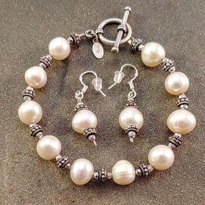 Jewelry - Sterling Silver Pearl & Hematite Bead Bracelet Set